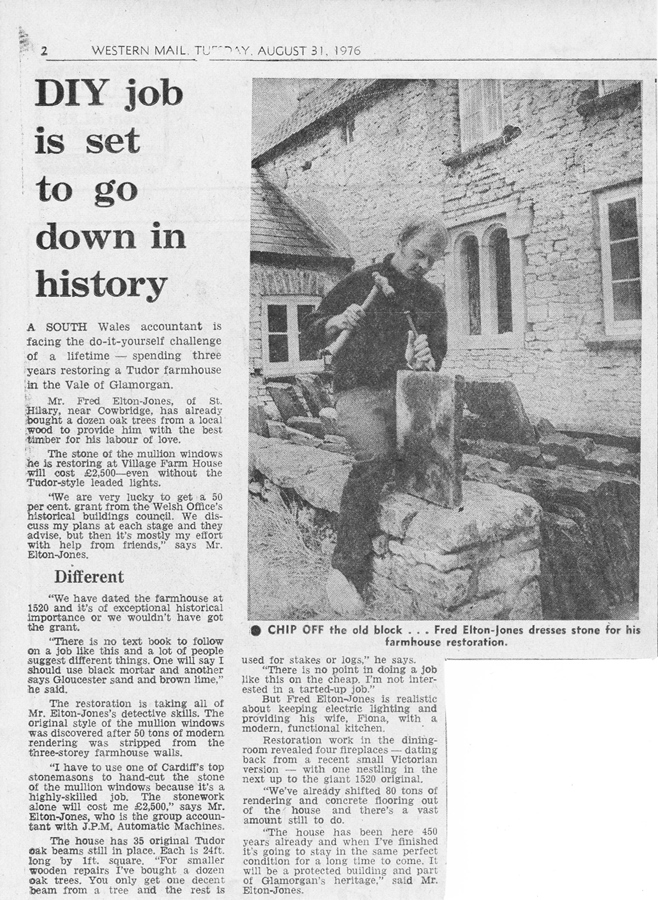 Fred Elton Jones news article 1976